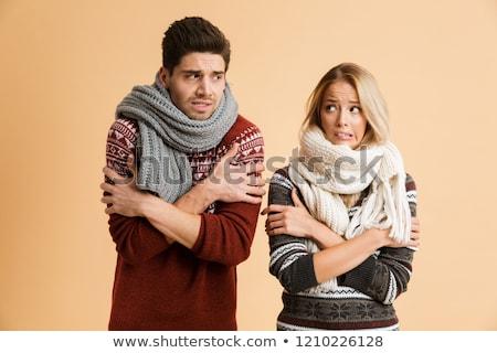 Retrato congelada em pé juntos isolado Foto stock © deandrobot