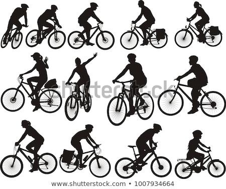 silhouet · mensen · fietsen · vrouwelijke · mannelijke · fietsen - stockfoto © krisdog