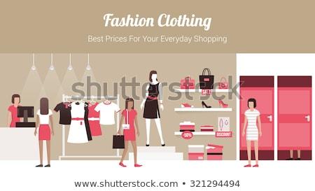 emberek · vásárol · termékek · ruházat · kiskereskedelem · vektor - stock fotó © robuart