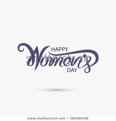 Szczęśliwy dzień kobiet ilustracja tulipan kwiat typografii Zdjęcia stock © articular