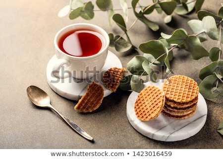 Cup of tea with syrupwaffles cookies Foto stock © Melnyk