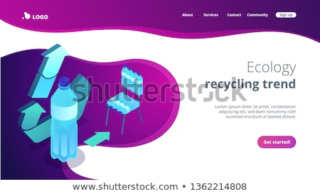 Upcycling process isometric 3D landing page. Stock fotó © RAStudio