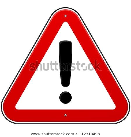 Triangular red Warning Hazard Symbol, vector illustration Stock photo © Ecelop