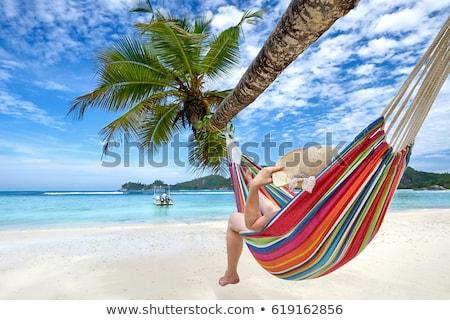 praia · biquíni · mulher · protetor · solar · férias · de · verão - foto stock © andreypopov