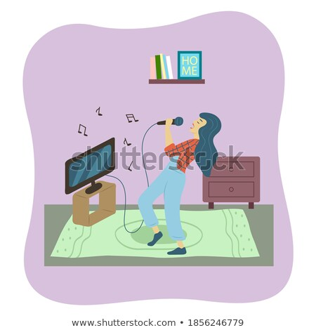 Hobby Karaoke, Woman Singing, Music and Tv Vector Stock photo © robuart