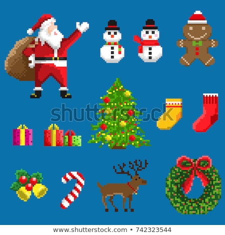 Santa Claus Reindeer Sleigh Christmas Pixel Art Stock photo © Krisdog