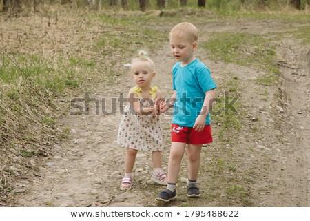 Brother and sister walk along a rural road. Stock photo © ElenaBatkova