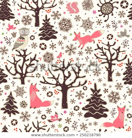 Cute vector seamless pattern with woodland animals in pink  Stock photo © Pravokrugulnik