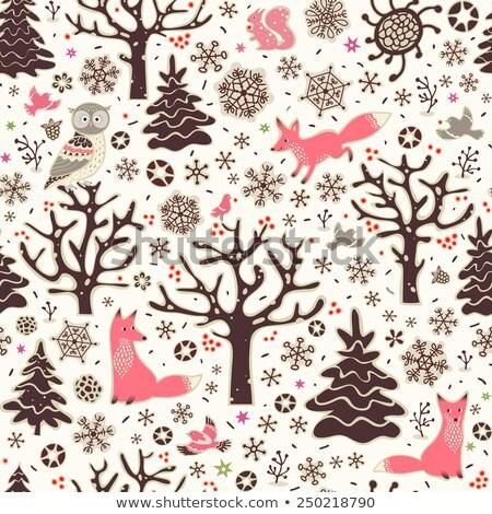 Cute vector seamless pattern with woodland animals in pink  Stock photo © Pravokrugulnik