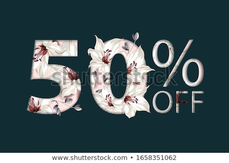 50 percent off lettering handmade with lily flower decoration. For Sale discount, Poster Banner Back Stock photo © ikopylov