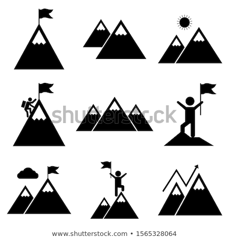 conquering top of mountain icon vector outline illustration Stock photo © pikepicture