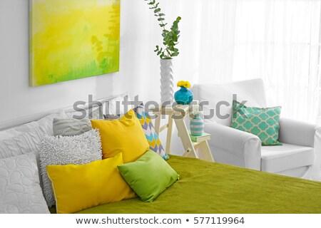 Colorido almohadas cama establecer Foto stock © dashapetrenko