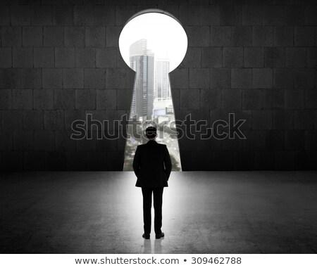 Anahtar deliği biçim arkasında siyah ev Stok fotoğraf © evgeny89