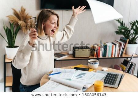Fotó bosszús nő sikít dolgozik iratok Stock fotó © deandrobot
