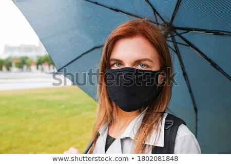 Mulher vermelho guarda-chuva retrato Foto stock © pekour