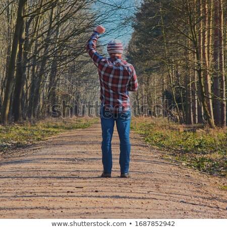 Férfi kint karok a magasban üzlet égbolt szín Stock fotó © photography33