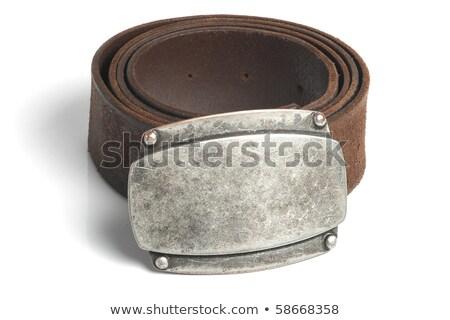 ブラウン ベルト 青銅 バックル クローズアップ 白 ストックフォト © marylooo