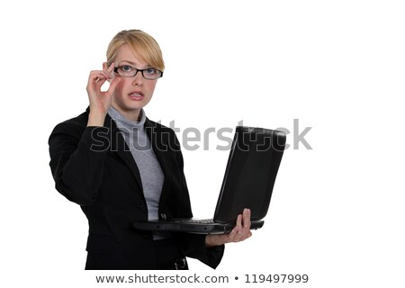 Stock fotó: Fiatal · üzletasszony · dolgozik · laptop · izolált · fehér