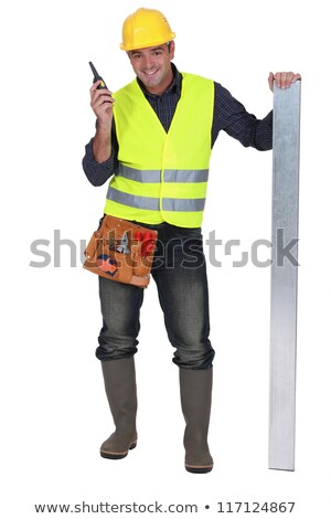 Construction worker stood with metal bean Stock photo © photography33