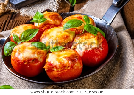 Stuffed Tomato With Cheese And Basil Stok fotoğraf © Dar1930