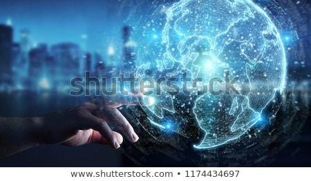 Hand Holding A Web Design 3d Sphere Stock photo © sdecoret
