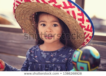 summer girl with sombrero Stock photo © carlodapino