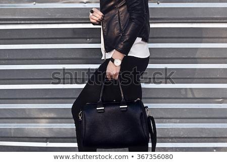 Güzel kız siyah tozluk çanta yalıtılmış kadın Stok fotoğraf © acidgrey
