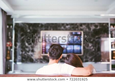 пару за телевидение человека кадр экране Сток-фото © photography33