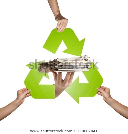 újság tart újrahasznosítás felirat vicces logo Stock fotó © pcanzo