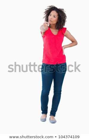 Serious woman accusing someone against a white background Stock photo © wavebreak_media