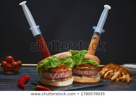 kettő · injekciós · tű · kenyér · szendvics · orvos · menü - stock fotó © lunamarina