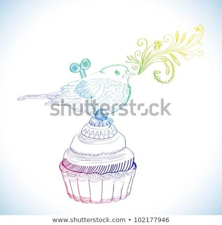 Background with cupcake and clockwork bird Stock photo © Elmiko