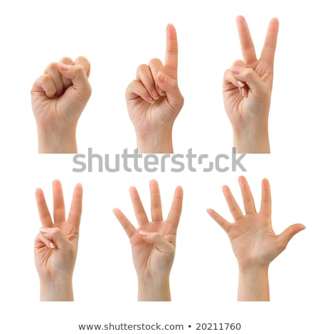 Counting woman hands (0 to 5) isolated on white background Stock photo © oly5