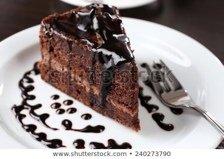 Bolo de chocolate tabela estoque foto aniversário bolo Foto stock © nalinratphi