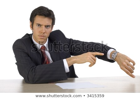 Angry young businessman showing time Stock photo © jiri_miklo