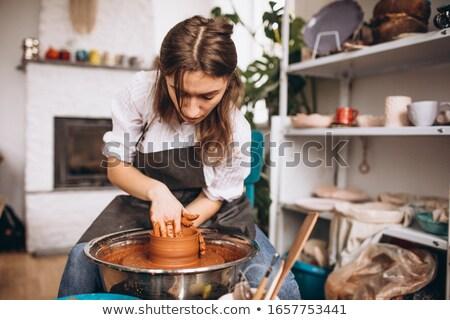 klei · handen · werken · wiel · aardewerk - stockfoto © manfredxy