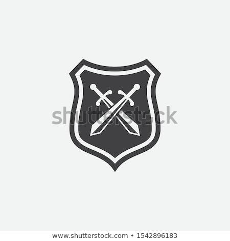 Stock photo: vector illustration with crossing swords in flat design with long shadow and red ribbon.
