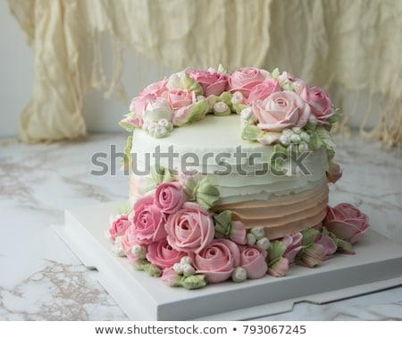 mooie · rozen · vers · roze · gebak · stilleven - stockfoto © Julietphotography