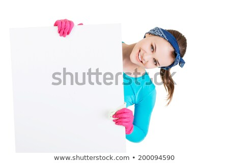 takarítónő · mutat · üres · tábla · tábla · kínai · felirat - stock fotó © wxin