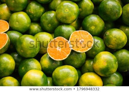 maduro · tangerina · mandarim · fatias · branco · fatia - foto stock © homydesign