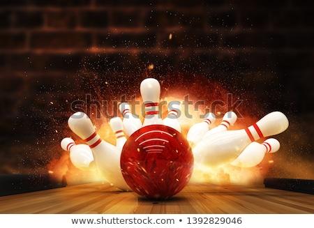 Bowling bowling topu izlemek 3d render kare görüntü Stok fotoğraf © Koufax73
