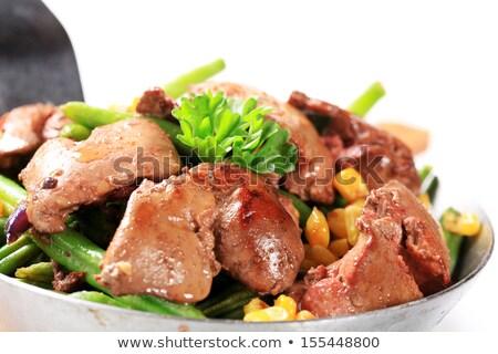 鶏 サヤインゲン トウモロコシ 野菜 食事 皿 ストックフォト © Digifoodstock