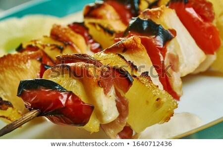 Сток-фото: Chicken Skewers And Crispy Bacon