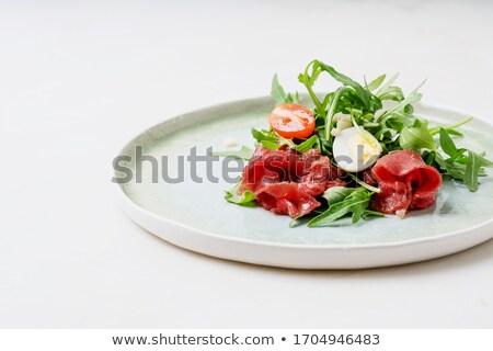 牛肉 · スライス · 調理済みの · 白 · 食品 · 背景 - ストックフォト © digifoodstock
