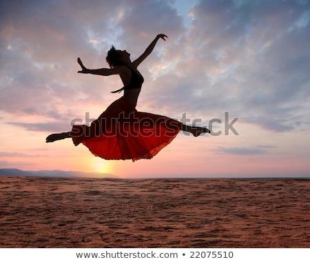 Wdzięczny piękna młoda kobieta tancerz plaży Zdjęcia stock © deandrobot