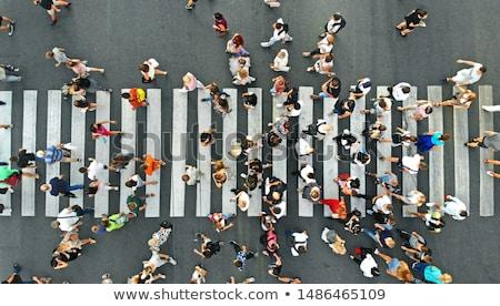 Przejście dla pieszych biały malowany ulicy rogu krzyż Zdjęcia stock © njnightsky
