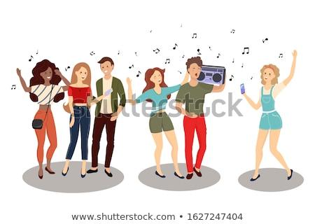 słuchanie · muzyki · portret · cute · uśmiechnięty · teen - zdjęcia stock © orla