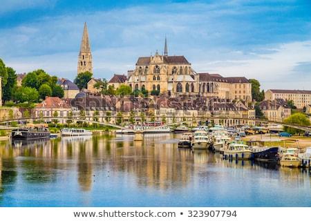 Abadia igreja barco linha do horizonte rio gótico Foto stock © LianeM
