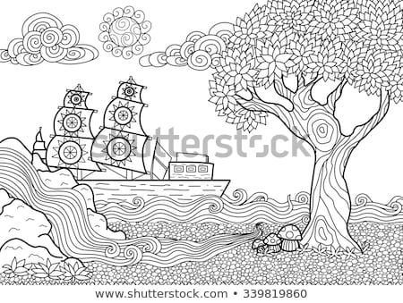 Coloring book Native Americans in boat Stock photo © clairev