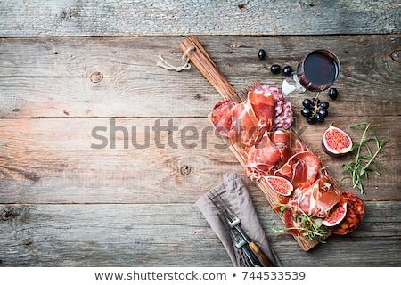 Ham witte druiven bos houten Stockfoto © Digifoodstock